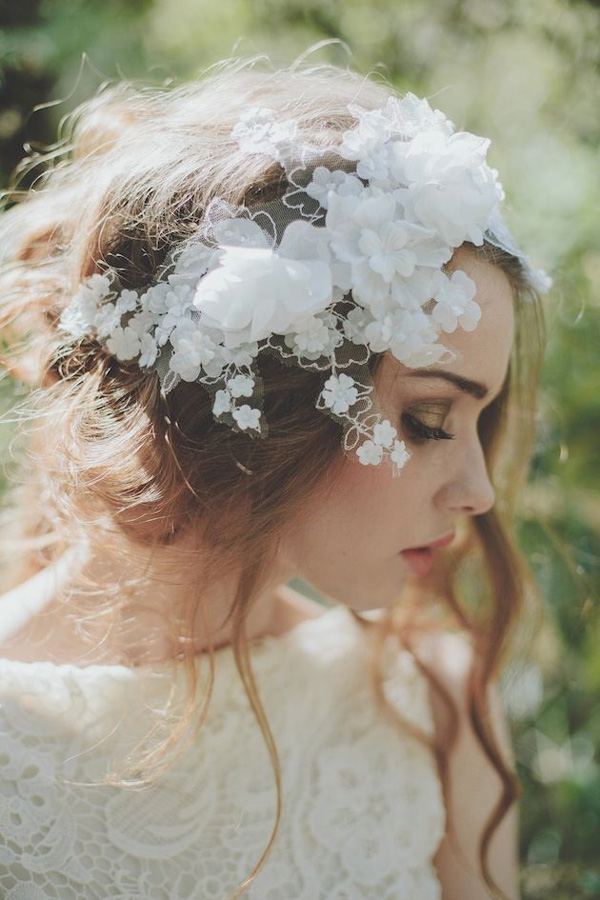 beautiful floral and lace bridal hairpiece for bohemian weddings
