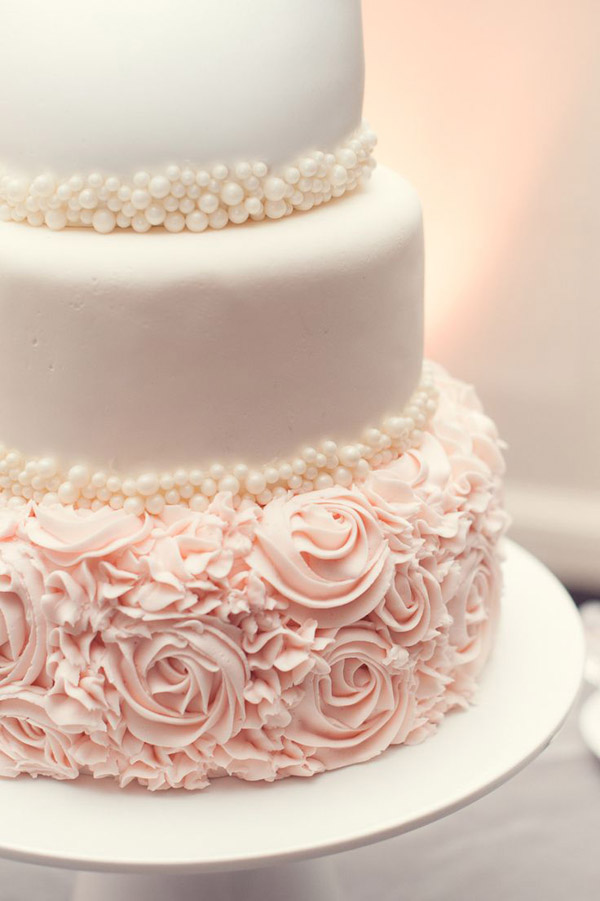 beautiful floral pink and cream wedding cakes