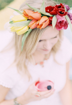 beautiful flower crown in a glorious range of sunset inspired shades