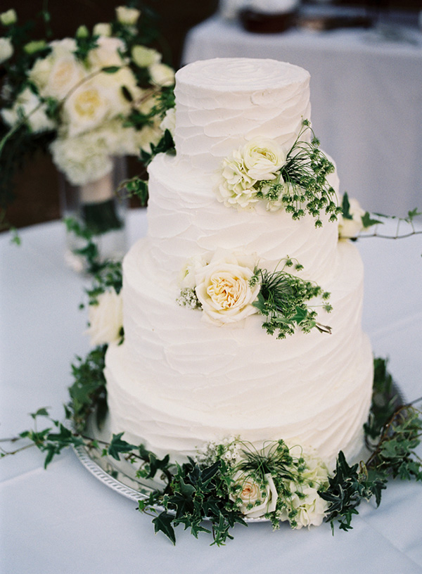 beautiful white and greenery wedding cakes