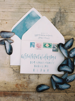 blue watercolor wedding invitation envelope liners
