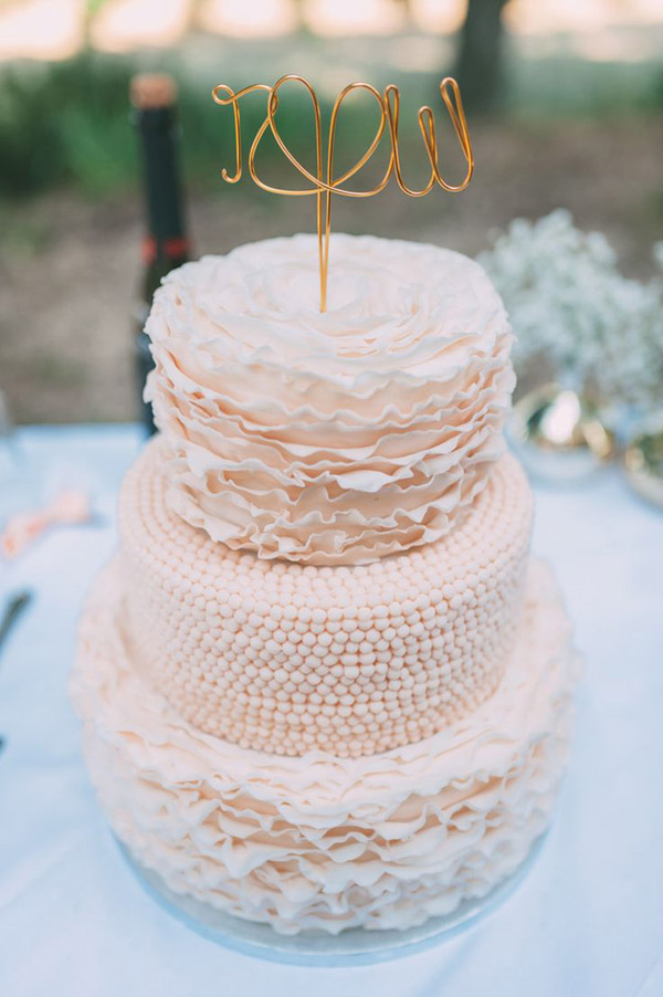 Blush Pink Wedding Cakes With Gold Cake Toppers