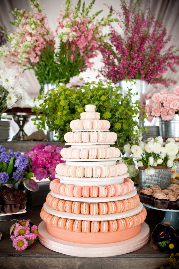 charming ombre macaron tower for nontraditional wedding cake ideas