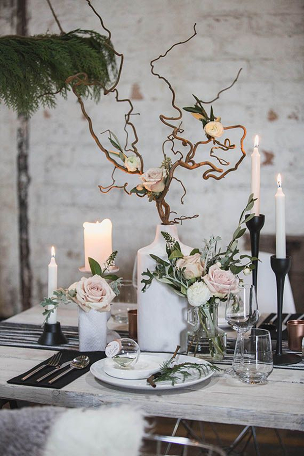 contemporary scandinavian winter wedding tablescape ideas