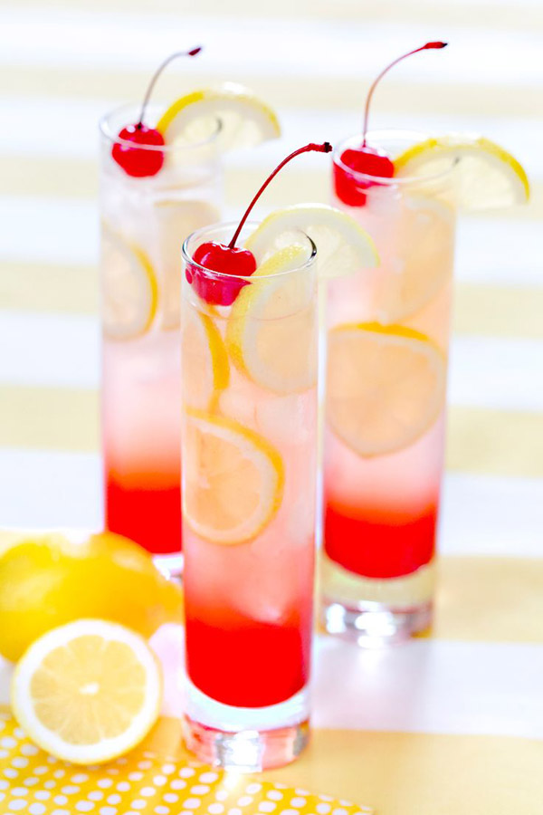 cranberry and lemon wedding drinks