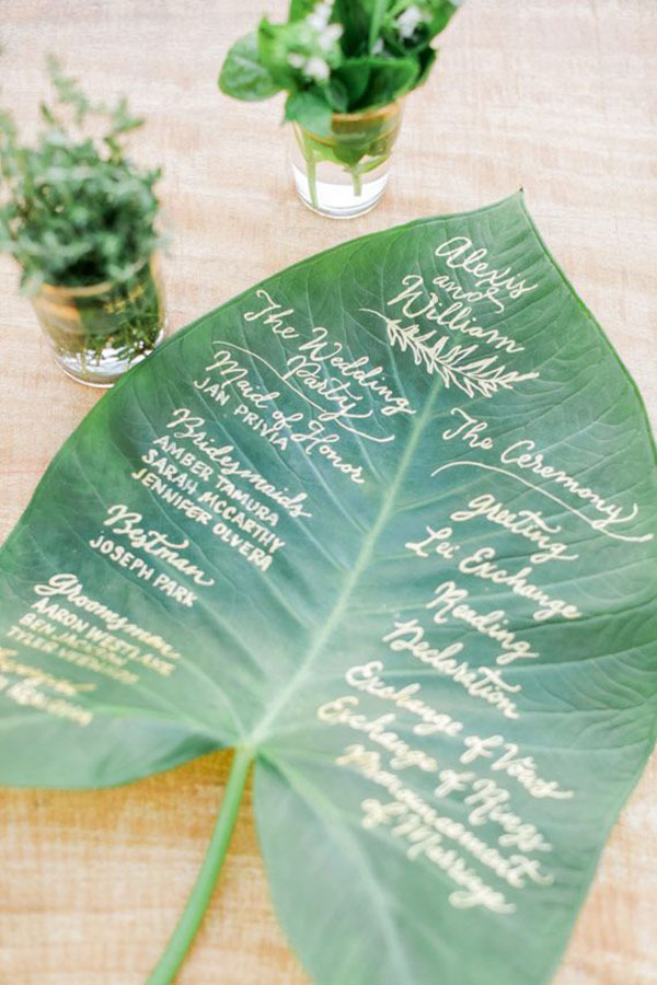 30 absolutely amazing greenery wedding ideas for 2016 creative green leave wedding menu ideas junglespirit Image collections