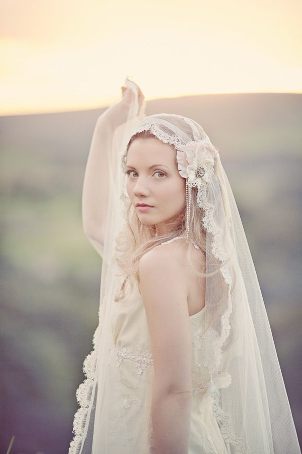 dreamy wedding photo with bride wearing floral wedding veil