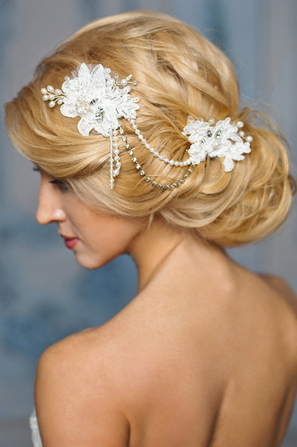 exquisite white lace and pearl bridal headpiece