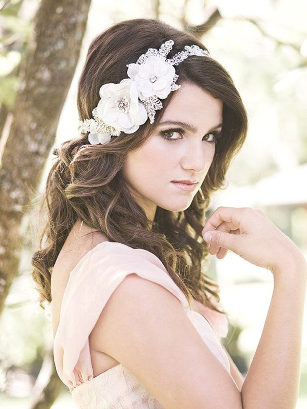 floral lace headpiece for weddings