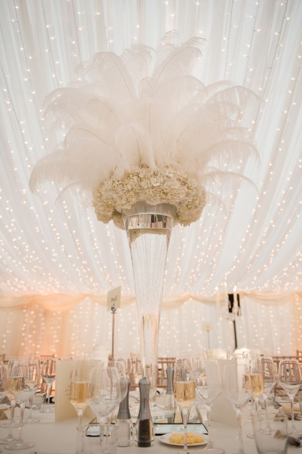 Giant Feather Wedding Centerpieces
