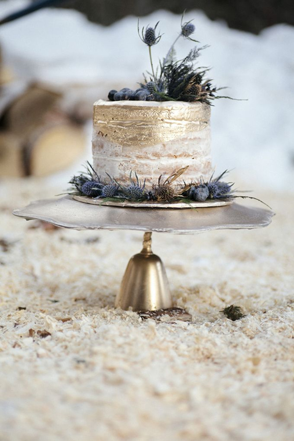 glamour gold and blue naked wedding cakes