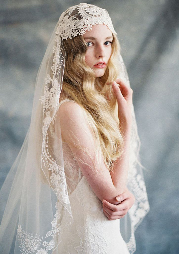 gorgeous boho lace and silk wedding veil ideas