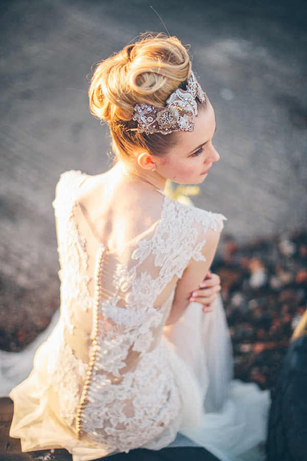 gorgeous lace wedding hairstyle with pretty lace and diamand hairpiece