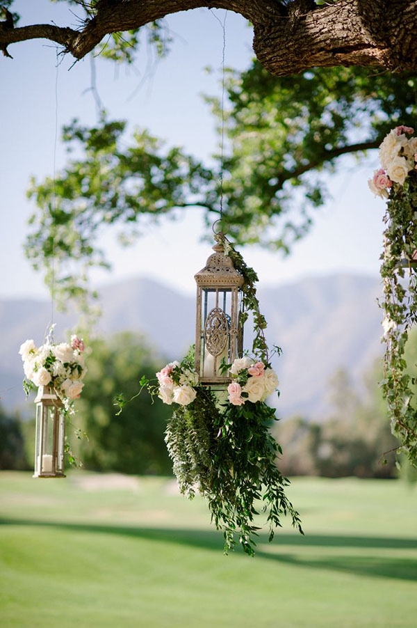green and floral hanging wedding deocr ideas