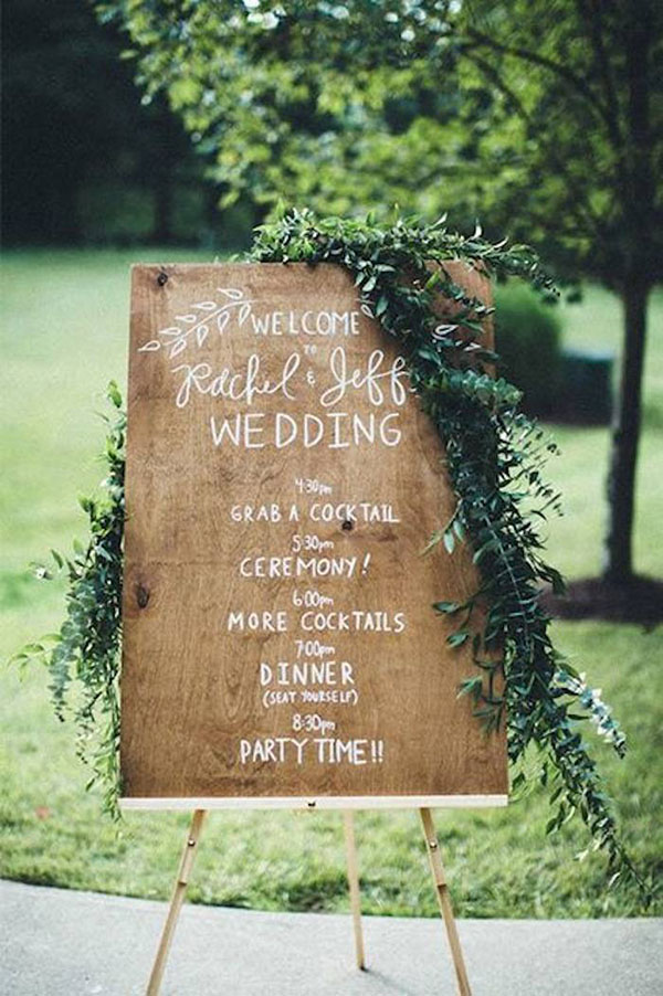 green and wood wedding sign board ideas