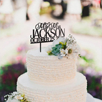 inexpensive personalized Mr and Mrs monogram wedding cake topper EWFT041