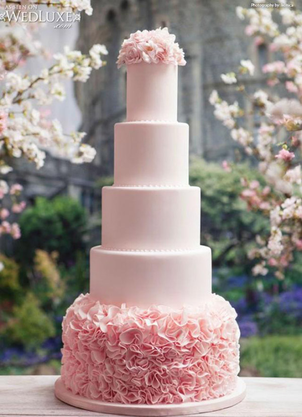 Light Pink And White Wedding Cakes