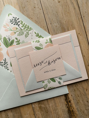 mint and peach pocket wedding invitations with envelope liners for 2016 trends