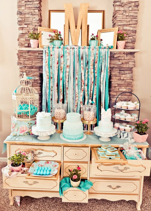 mint and pink themed wedding dessert table ideas