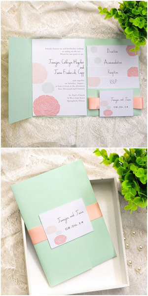 mint green and peach pocket wedding invitations