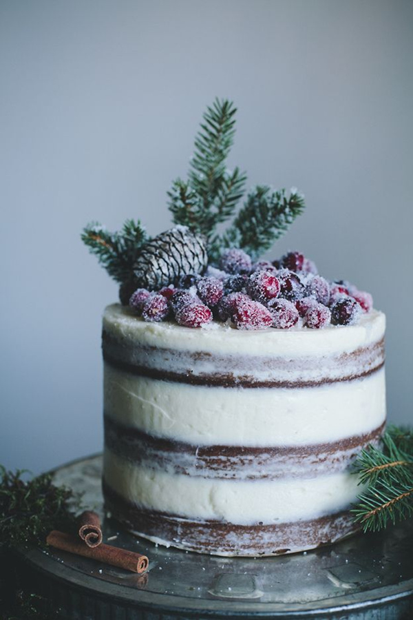 naked wedding Cake with Cream Cheese Frosting and Candied Cranberries