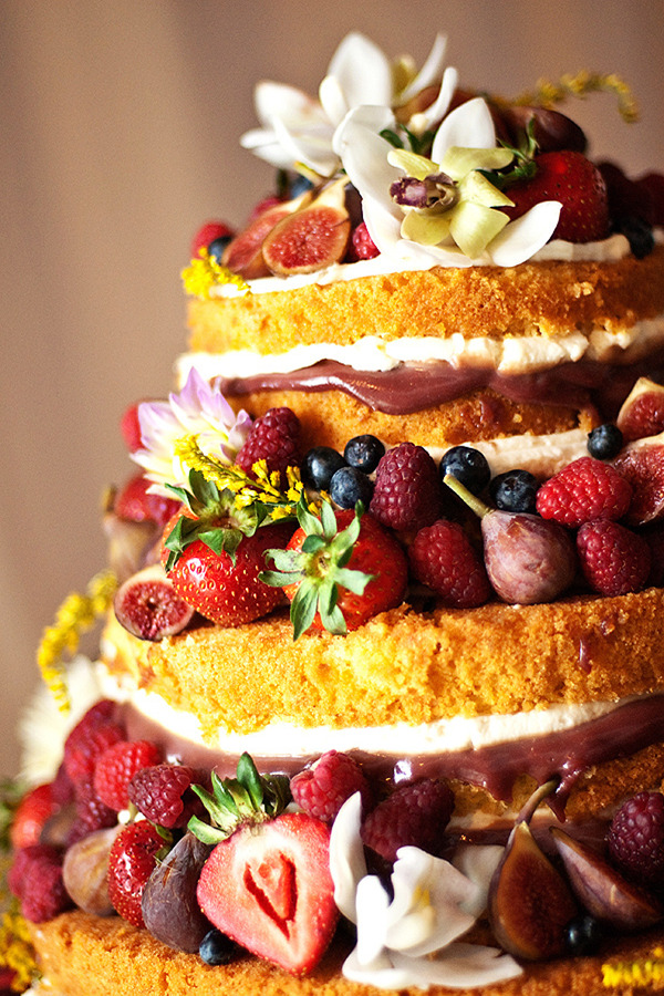 nontraditional naked wedding cakes full with fresh fruits