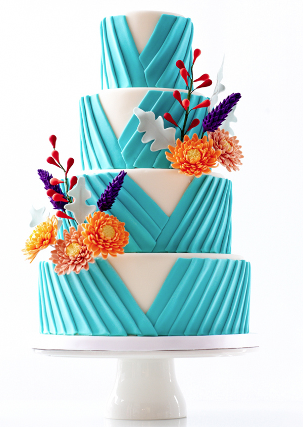 nontraditional wedding cake with creative designs