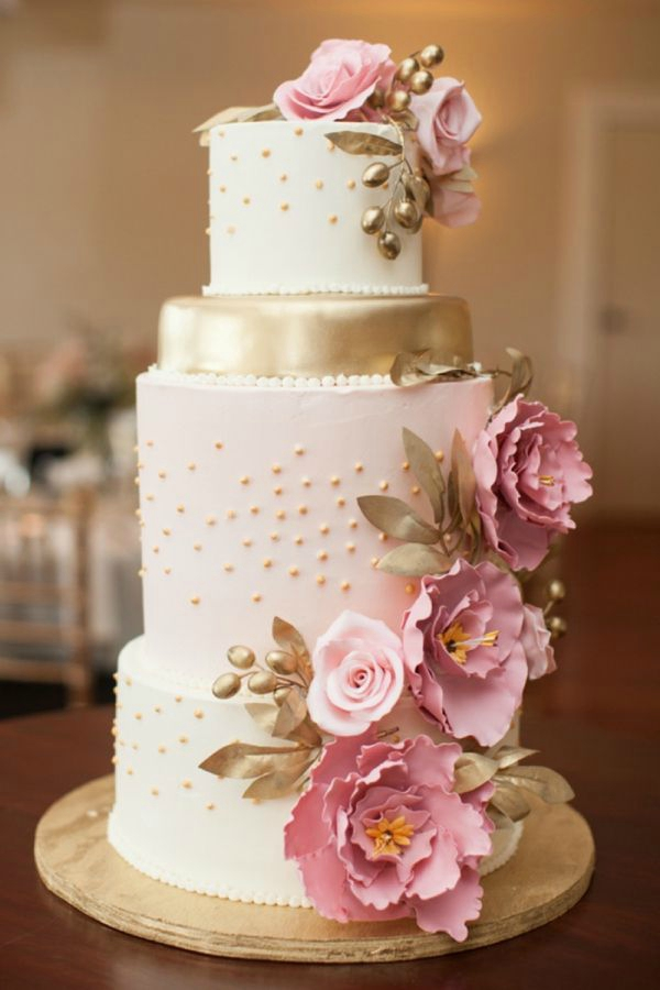 Pink Gold Wedding Cakes