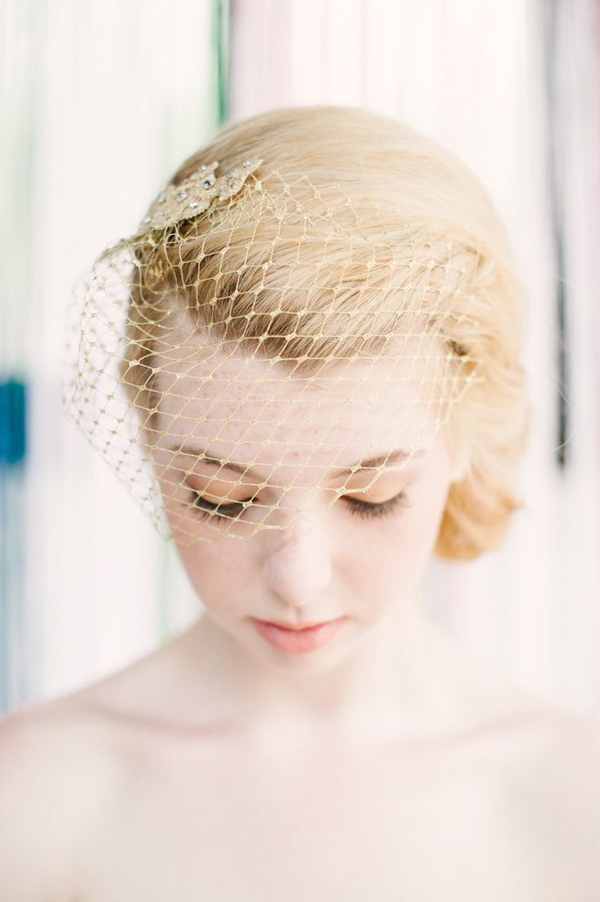 pretty wedding photos with gold birdcage wedding veil