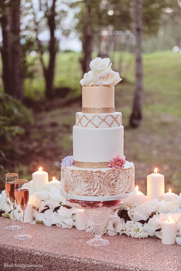 Pink And Gold Wedding Cake Ideas