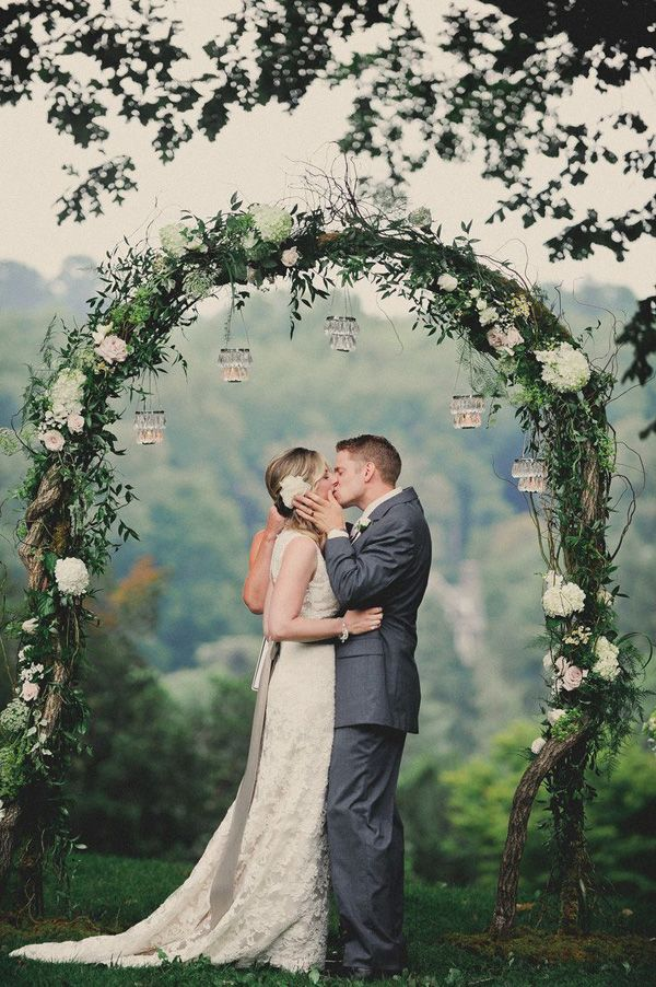romantic white floral and greenery arch ideas
