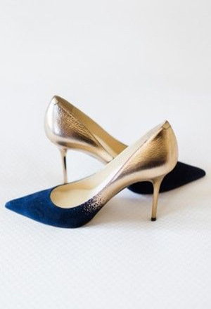 royal blue to gold ombre wedding shoes
