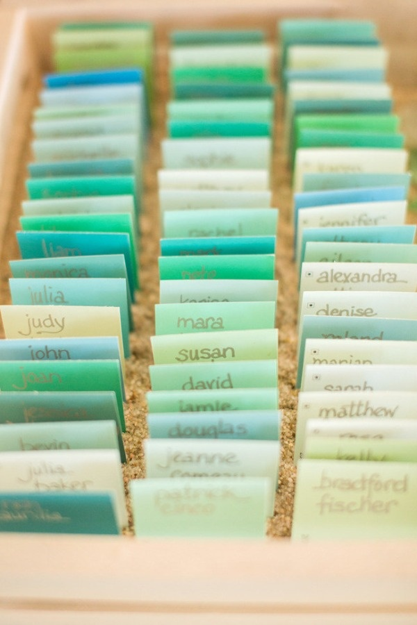 sea green and blue ombre seating cards for beach wedding