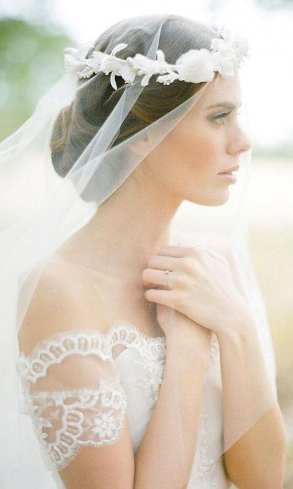 silk flower bridal crown veils