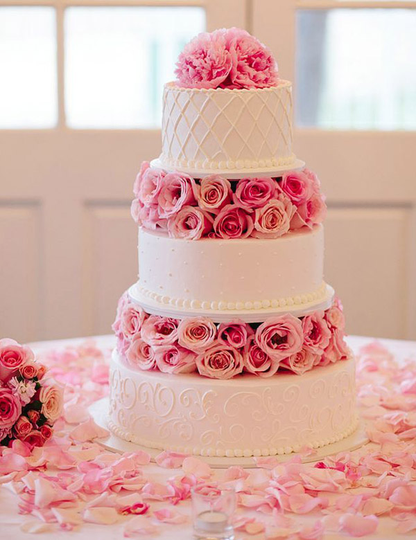 28 inspirational pink wedding cake ideas elegantweddinginvites sweet pink floral wedding cakes junglespirit Gallery