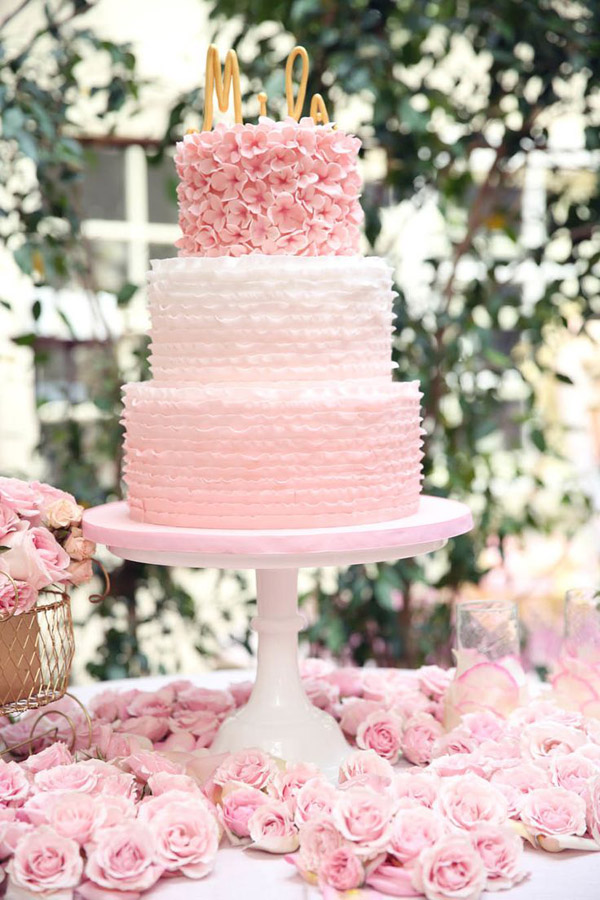 sweetest layered pink wedding cakes