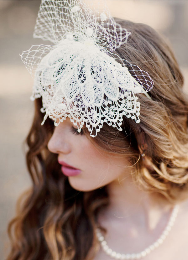 vintage inspired lace wedding headpiece