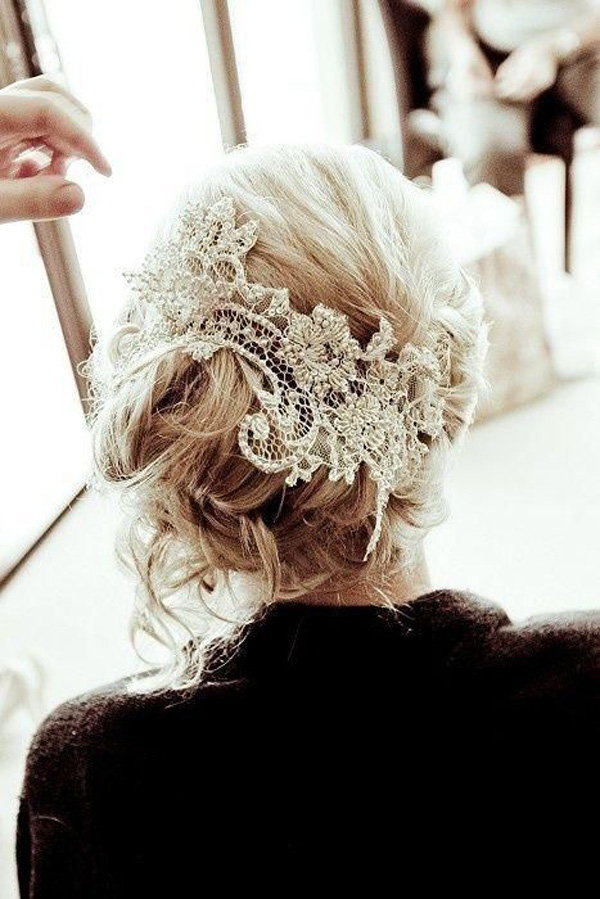 vintage wedding hair style updo with old lace crochet decor headpiece