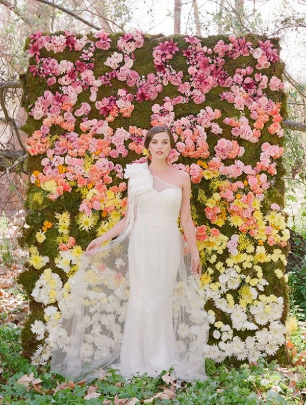 wonderful shoot of ombre floral wedding backdrop