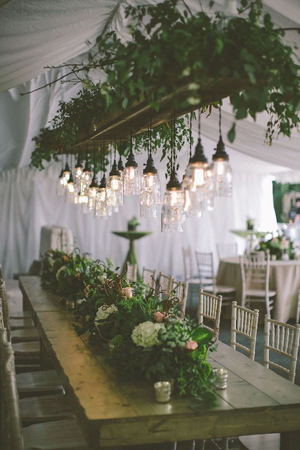 woody and greenry wedding reception inspiration