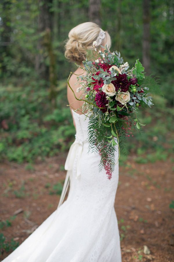 Gorgeous Forest Bride with a Burgundy Bouquet