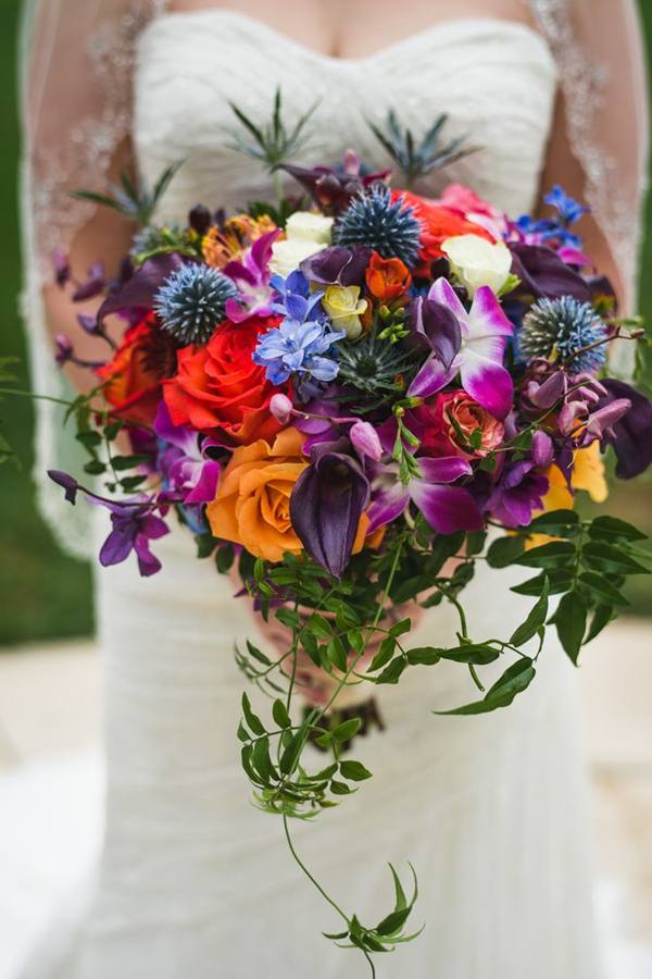 Jewel toned wedding bouquet ideas for 2016