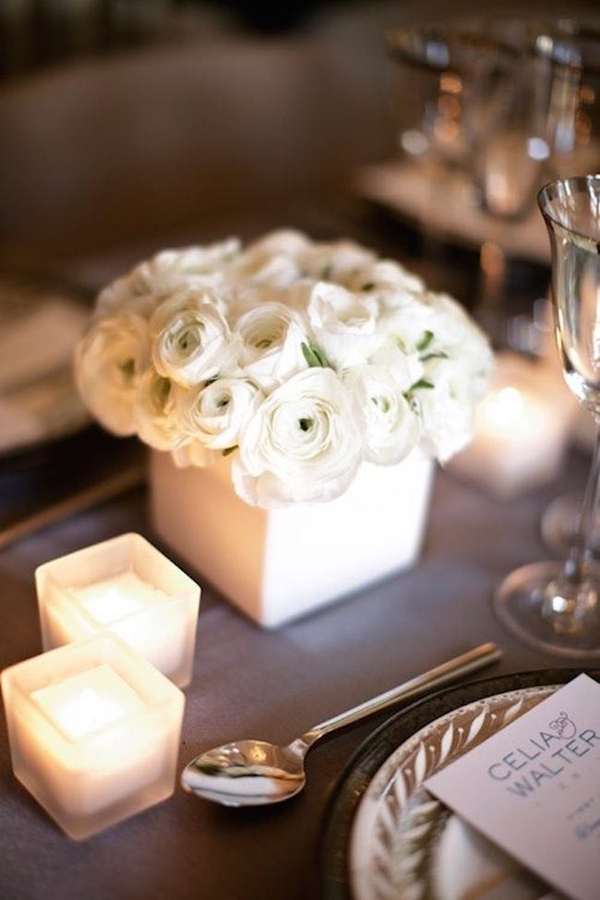 White ranunculus spring wedding centerpieces ideas