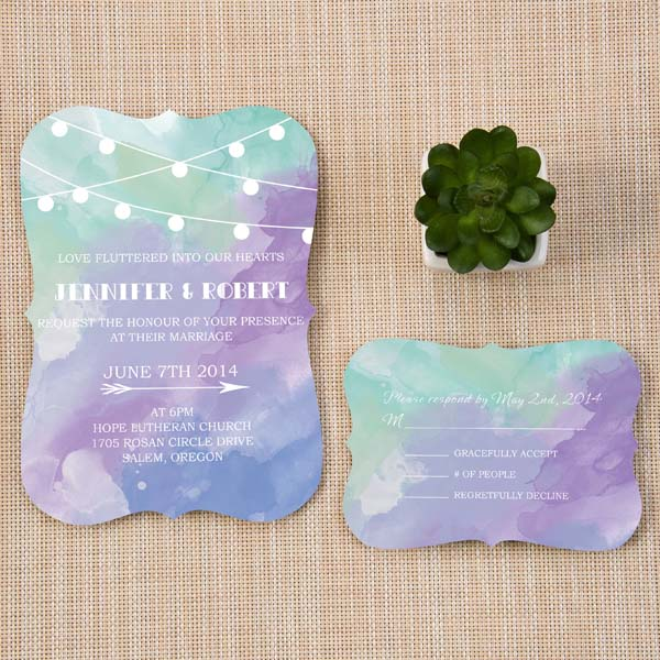 affordable shades of green and purple watercolor wedding invitations bracket