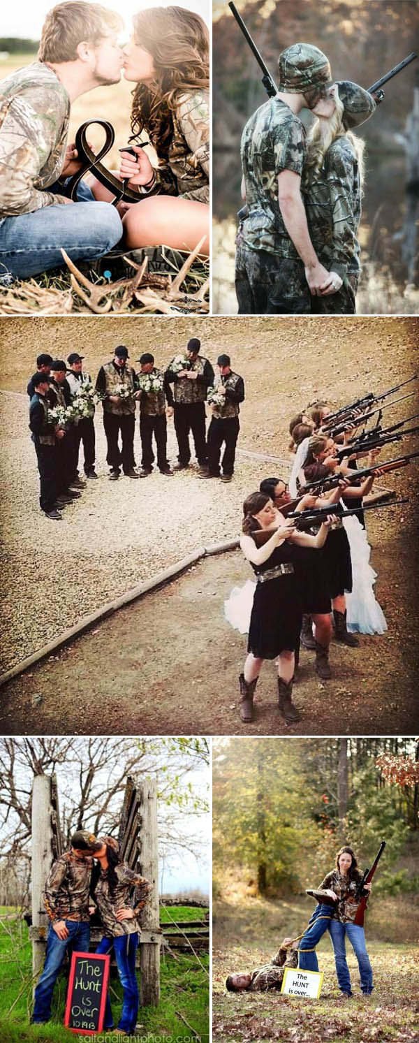 awesome camo wedding photo ideas for country wedding couples who love to hunt