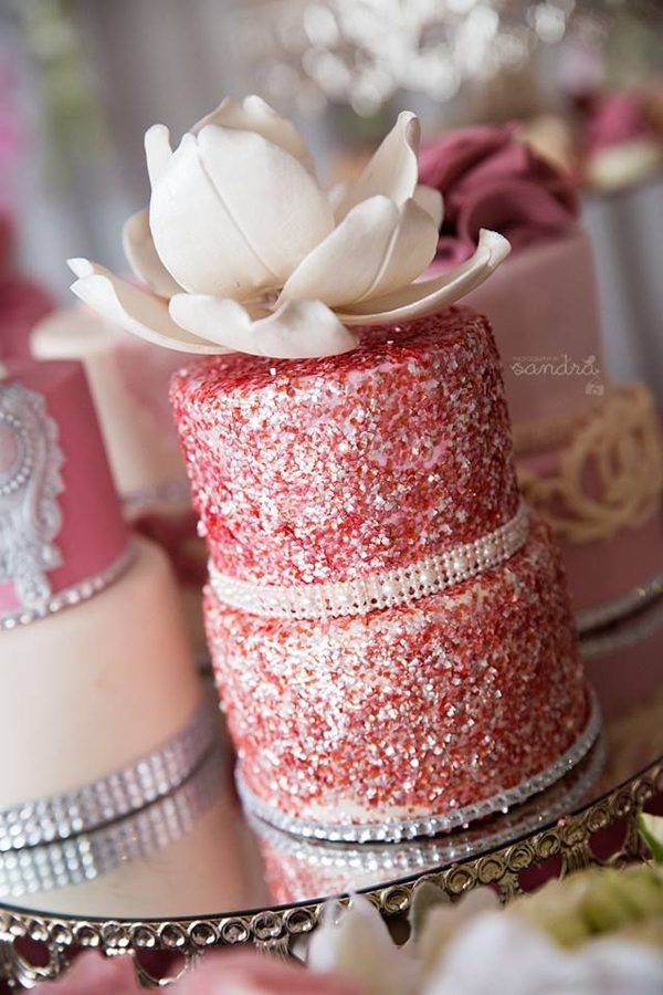 beautiful sparlke pink rose and floral wedding cake