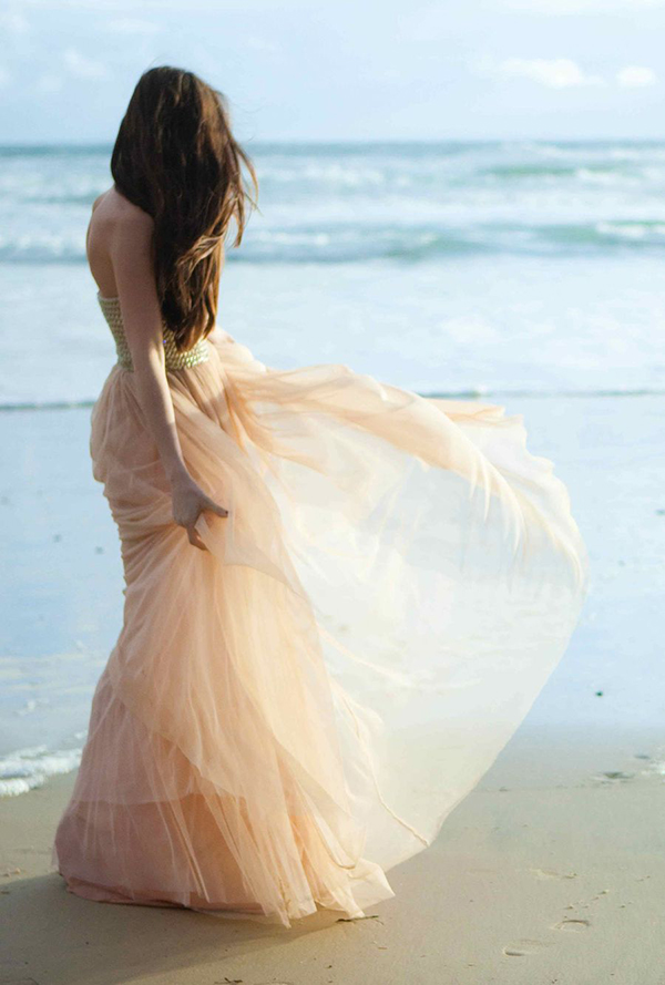 blush tulle wedding dress for beach weddings