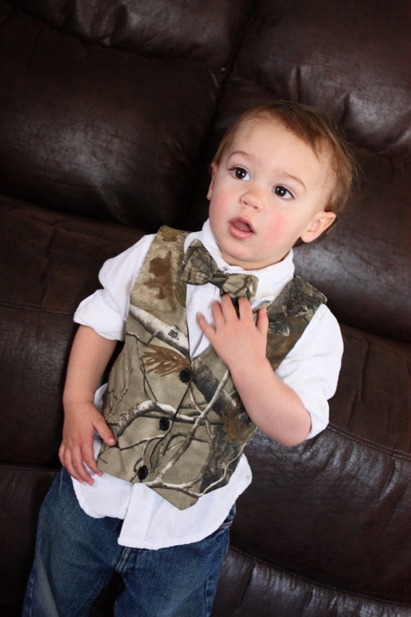 camo boy vest for rustic camo wedddings
