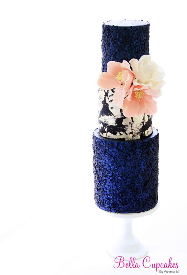 classic wedding cakes with blue sequins details