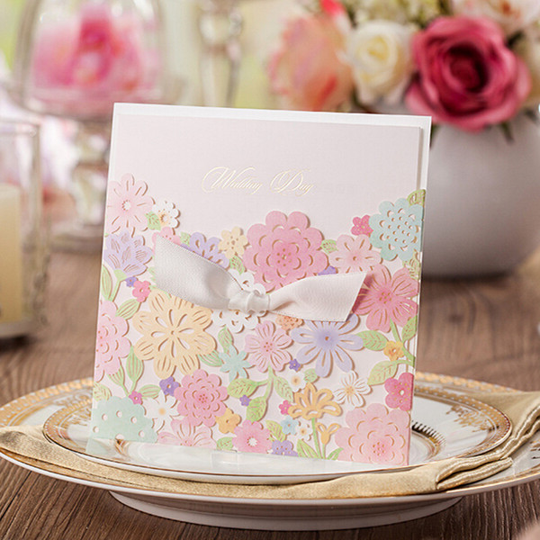 colorful flowers spring laser cut wedding invitations